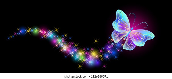 Flying butterfly with sparkle and blazing trail and glowing stars