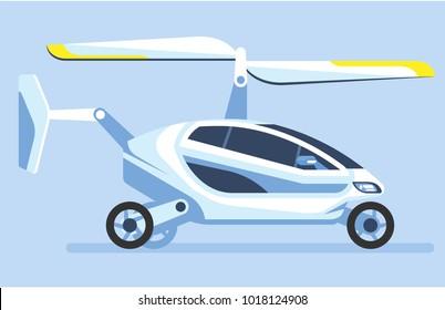 Flying car. Autonomous driverless car. Futuristic intelligent vehicle. Automotive technology. Vector illustration