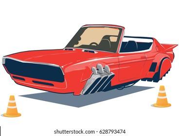 Flying car, the car of the future, jet car, retro future, air transport, concept car,cabriolet, levitation car, automobile