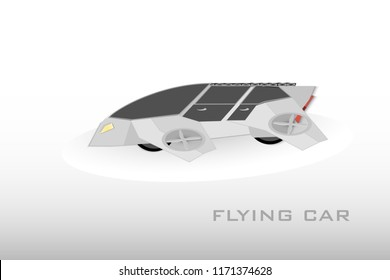 Flying car. Futuristic electric car. Cartoon style. Flat. Vector. Flying unmanned car. Futuristic concept. Drone. Futuristic technology.