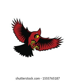 flying cardinal bird  vector on a white background