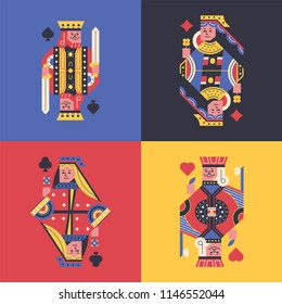 The flying cards king, queen, spades, clubs, hearts, diamonds. flat design style vector graphic illustration set