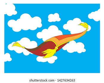 flying carpet, white clouds and blue sky