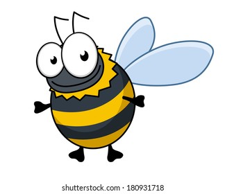 Flying cartoon bumble bee or hornet logo with colorful black and yellow stripes and a happy smile, isolated on white