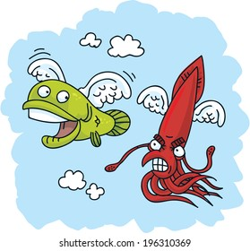 A flying cartoon squid chases a flying fish.