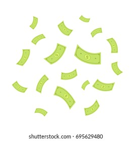 flying cash money bank notes vector