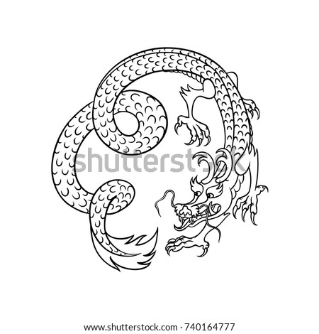 Flying Chinese Contour Japanese Dragon Hand Stock Vector Royalty