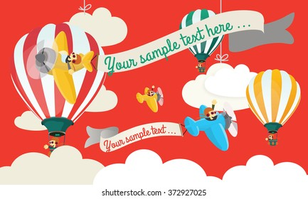Flying Circus Child vector illustration