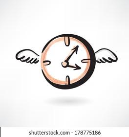 Flying clocks grunge icon