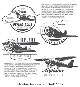 Flying club, a set of logos of an aviation club, retro transport symbols, airplanes to choose, badges for air school, vector illustration. Sign Good flight