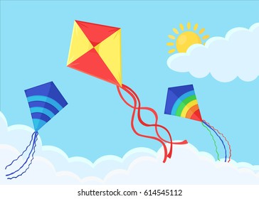 Flying colorful kite in the clouds isolated on background. Summer, holiday, vacation time. Vector illustration. Flat cartoon design