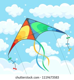Flying colorful kite in the sky with clouds isolated on background. Summer festival, holiday, vacation time. Kitesurfing concept. Vector illustration. Flat cartoon design