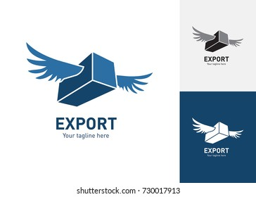 Flying container logo for use in export, import, shipping, logistics and delivery.