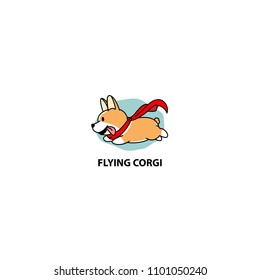 Flying corgi, funny dog with red cape icon, vector illustration