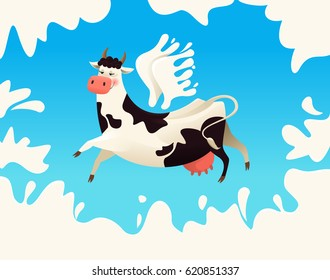 Flying cow with wings from milk. Vector illustration.