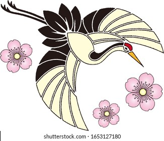 Flying crane paper-cut style background material illustration Vector