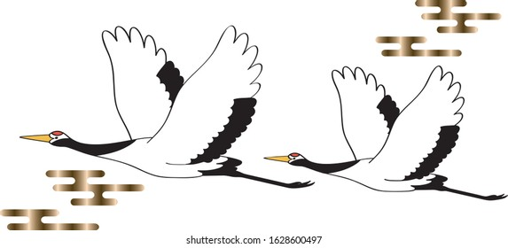 Flying crane wild bird vector illustration