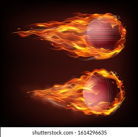 Flying cricket ball in fire isolated on black background. Vector realistic stitched leather ball in flame. Template for poster, banner for the match of sport tournament