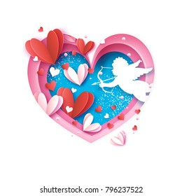 Flying Cupid - little angel. Love Pink Frame. Shape Heart in paper cut style. Origami Hearts and little boy - Cherub. Bow and Arrow. Happy Valentine day. Romantic Holidays. 14 February. Vector