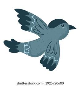 flying cute bird animal cartoon vector illustration isolated style