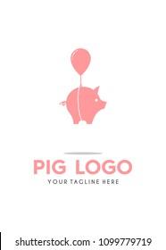 Flying Cute Pig with Ballon Logo Simple Modern Vector