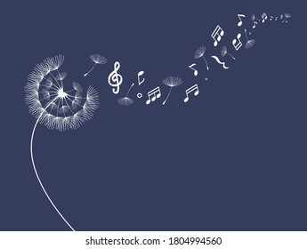 Flying dandelion seeds with music note icon, vector illustration
