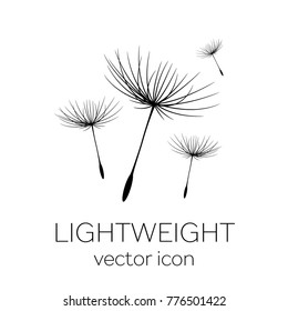 Flying dandelion seeds, vector icon