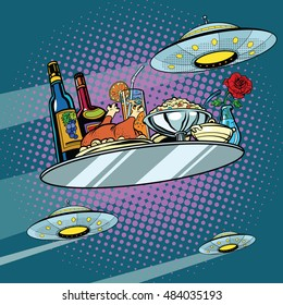 Flying a dinner tray and UFO, pop art retro vector illustration. Delicious food. Science fiction