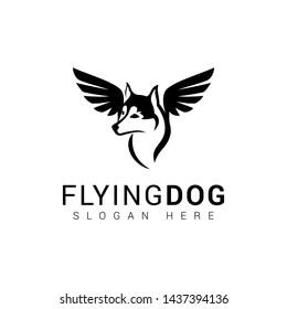 Flying dog logo design in black and white style