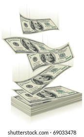 flying dollar bills, the concept of success