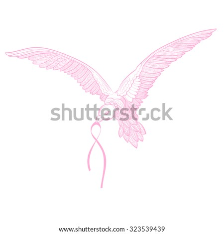 Flying Dove Breast Cancer Awareness Pink Stock Vector Royalty Free