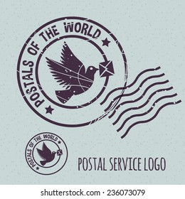 flying dove with envelope, postal postmark template logo. None stroke, cartoon flat style. Vector illustration.