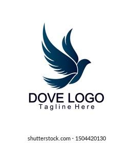 Flying dove logo elegant design vector. Dove or pigeon cosmetics fashion. Perfect concept bird icon.