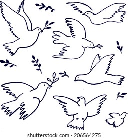 Flying dove with olive branch.  Peace symbol. Hand drawn sketch. Vector illustration.