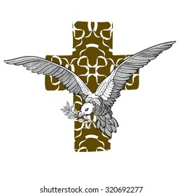 Flying Dove, Olive Twig & Ornate Cross, isolated on white background. Christian symbol of Holy Spirit. Peace, Faith, Love concept. Vintage Vector Element. Tattoo, T-shirt, logotype & textile design.