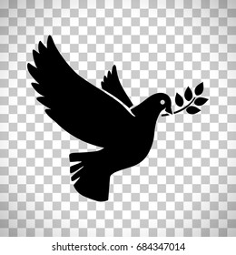 Flying dove with olive twig vector sign isolated on transparent background