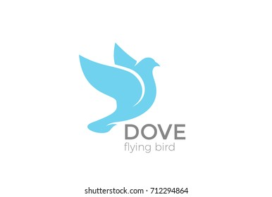 Flying Dove silhouette Logo design vector template. Pigeon Bird Logotype concept icon.
