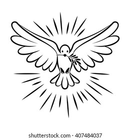 Flying dove vector sketch. Dove of Peace. Silhouette of a flying dove with olive branch. White pigeon doodle. Vector illustration