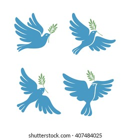 Flying dove vector sketch set. Dove of Peace. Silhouette of a flying dove with olive branch. White pigeon doodle collection. Vector illustration