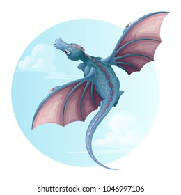 Flying dragon in the sky. Vector illustration