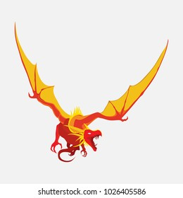 flying dragon, zodiac symbol, company logo, vector dragon emblem, flat style