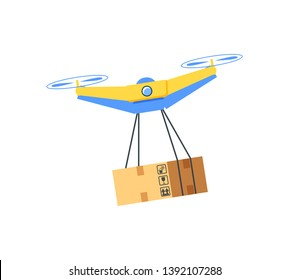 Flying drone with cardboard package, flat design style of modern equipment with hanging box, cargo wireless multicopter, helicopter innovation vector