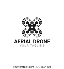 Flying Drone Logo Design Vector Icon Template