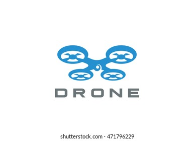 Flying Drone Logo design vector template Negative space style. Quadrocopter Logotype delivery concept icon