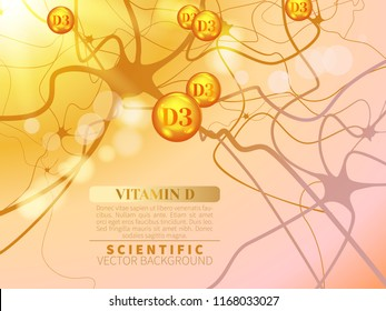 Flying drops of vitamin D3 and model of neural system. Concept of deficiency of solar vitamin.Scientific vector background for projects on technology,medicine,chemistry,science and education.