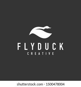 Flying Duck logo - vector illustration