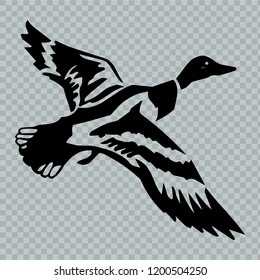 Flying duck. Vector.