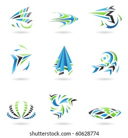Flying Dynamic Abstract Icons isolated on a white background