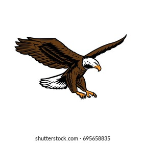 flying eagle attacking pose colored. spreading wings