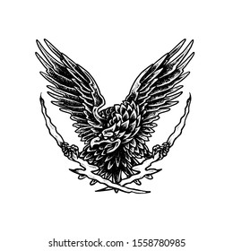 Flying eagle - Dot work Tattoo style